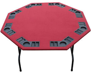 "52"" Octagon Burgundy Felt Poker Table Folding Steel Legs-Texas Holdem Card Games"