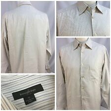Zegna Long Sleeve Shirt M Ivory Gray Stripe 100% Cotton Made In Italy YGI BL28