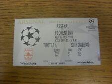 27/10/1999 billet: à Wembley, Arsenal V Fiorentina [Ligue des Champions]. Merci