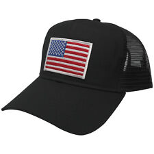 USA American Flag Embroidered Patch Snapback Cap - Black