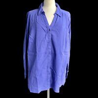 DENIM & Co. Women's Plus Size 3X Purple Gauze Button Front Roll Tab Sleeve Shirt