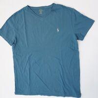 Ralph Lauren T-Shirt Herren Gr.M blau uni V-Ausschnitt -S1411