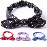 Baby Kids GirlsTurban Knot Rabbit Ears Headband Dot Stripe HairBand Headwrap New
