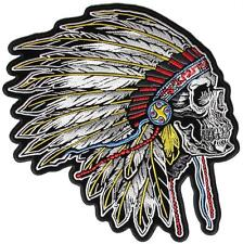 INDIAN CHIEF NATIVE AMERICAN WARRIOR SKULL W/ HEADDRESS DELUXE EMBROIDERED PATCH