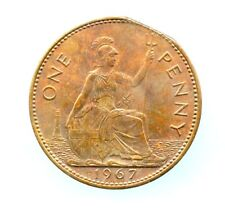 Great Britain ~ 1967 ~ Penny ~ Bu ~ Clipped Planchet Error