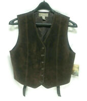 Marsh Landing Womens Fall Spice Leather Vest Size M Dark Brown Button Up NWT