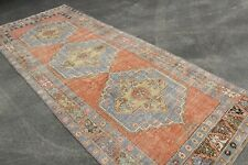 Tribal Oushak Rug, Handwoven Turkish Rug, Wool Low Pile Distressed Rug Floor