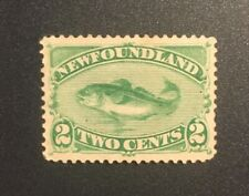 Stamps Canada Newfoundland Sc47 2c green Codfish of 1896. See description