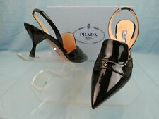 NIB PRADA 1I270L BLACK PATENT LEATHER POINTED TOE SLINGBACK MULES PUMPS 38 ITALY