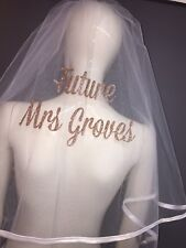 Personalised Hen Party Veil Rose Gold Glitter Best Price Fast Shipping Bride