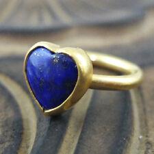 Handmade Designer Round Band Heart Lapis Ring 24K Gold Over Sterling Silver