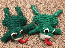 Lot 2 Vintage Hand Made Crochet Yarn Toy Stuffed Animal Frogs