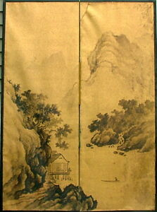 CHINESE QING SCREEN INK ON GOLD PAPER PAINTING ROOM SCREEN ASIAN PROVENANCE