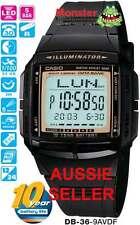 AUSSIE SELLER CASIO WATCH 30 TELE 5 ALARMS DB-36 DB-36-9AV DB36 12-MNTH WARANTY