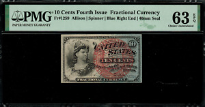 Fr-1259 $0.10 Fourth Issue Fractional Currency - 10 Cent - Graded PMG 63 EPQ