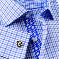Blue Grid Check Business Dress Shirt Gingham Check Designer Formal Fashion Style
