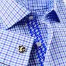 Blue Grid Check Business Dress Shirt Gingham Check Designer Formal Fashion Style
