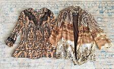 Lot of 2 Women's Semi Sheer 3/4 Sleeve Blouses Shirts PM Petite Medium