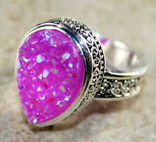 SILVER Vintage Style Pink Red  Rainbow Titanium Druzy Teardrop Ring Size 6
