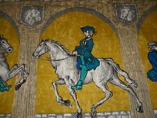 Vintage French Equestrian Horsemen Cotton Fabric ~ Ochre Petrol Blue Teal Gray