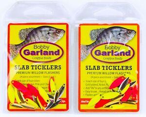 Bobbie Garland Crappie Baits Slab Ticklers Premium Willow Blade Flashers 2 Packs
