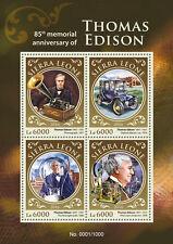 Sierra Leona 2016 estampillada sin montar o nunca montada Thomas Edison 85th Memorial 4v MS Ciencia invención sellos