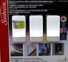 NEW/OB Sunbeam Color Changing Led Power Failure Night Light 3 Pk (White)