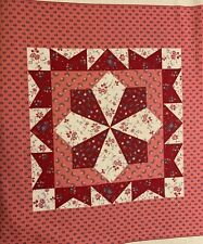 """2- Vintage Burgundy & pink floral pillow top 17"""" square w/instructions"""