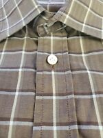 Luciano Barbera Plaid Shirt M Medium Taupe Brown White Italy