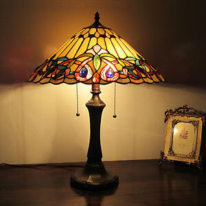Tiffany Style 2 Light Table Lamp Gold w/ Jewels Stain Glass Antique Brass Finish