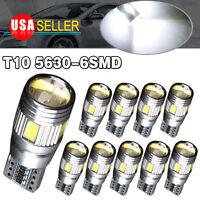10 X White 5630 T10 6SMD LED CANBUS ERROR FREE Interior Light Bulb 158 168 2825