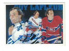 Guy Lafleur AUTOGRAPH 1991-92 SCORE HOCKEY CARD SIGNED Quebec & MONTREAL
