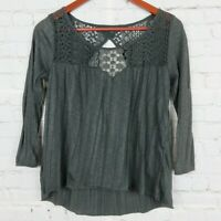 American Eagle Outfitters Sz XS 3/4 Sleeve Loose Fit Lace Blouse Top Cutout Gray