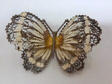 Vintage Sterling Silver 925 Filigree Enamel Butterfly Pin Brooch