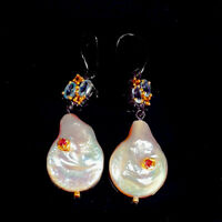 Baroque Pearl Earrings Silver 925 Sterling Vintage/E38155