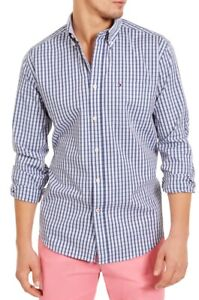 Tommy Hilfiger Mens Shirt Blue Medium M Classic-Fit Plaid Button Down $69 259