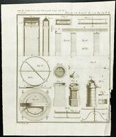 1777 - Gravure ancienne de boussole - Instrument de navigation - Magnétisme