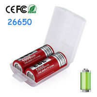 2x  EBL 26650 5000mAh 3.7V Rechargeable Li-ion Battery For Flashlight + Free Box