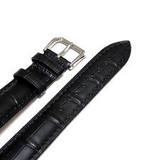 20mm Women Black Genuine Leather Watch Strap Band
