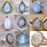 925Silver Sterling Solid Natural Moonstone Gemstone Rings Band Vinatge Bridal A+