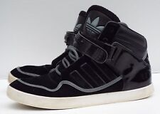 vintage Adidas 9.5 43.5  Black patent leather Suede hi top sneakers fashion