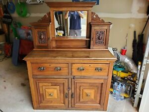 Antique 18th Century Victorian Buffet. Top piece with mirror/Hand Carved accents