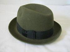 Adam Vintage Felt Fedora Hat Olive Green 6 3/4