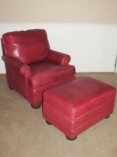 ETHAN ALLEN LEATHER ARM CHAIR AND OTTOMAN BURGUNDY