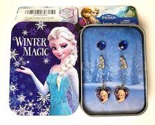 3-prs Frozen Anna Elsa Olaf EARRINGS Pierced Posts GIFT TIN BOX Girls Jewelry