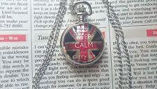MINI Silver Steel Pocket Watch Necklace Pendent KEEP CALM UNION JACK VelvetPouch