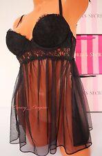 32D VS VICTORIA'S SECRET Lingerie Lace Babydoll Push-up NWT Black 54A2