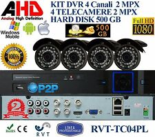 KIT VIDEOSORVEGLIANZA CON  4 TELECAMERE FULL HD P2P CON HD 500 GB TOP QUALITY