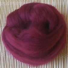 100g Merino Wool Tops 64's Dyed Fibres - Burgundy - Felt Making and Spinning