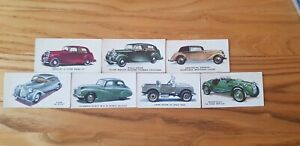 7 Kellogg's Motor Cars Trade Cards With Both End Numbers
